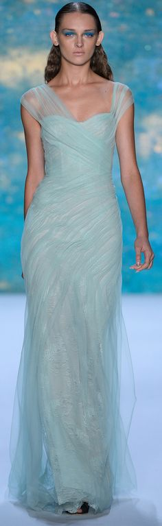 Monique Lhuillier RTW SS 2013 | pale blue | sheer | sheath | chiffon | evening gown | high fashion