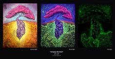 Carlos Roa painting. This painting is a three in one, all of these images are in one painting! The first image is in normal light, the second image is shown under black light, and the third image glows in the dark!