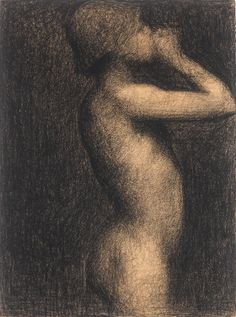 """ Georges Seurat (1859-1891), Study for a Bather, Asnières (1883-84), conté crayon on paper, 24.1 x 32.4 cm. Via Sotheby's. """