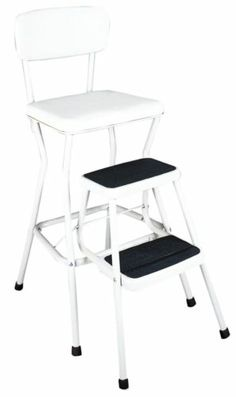 "Chair Step Stool With Slide Out Steps Safety Tread, Stylish White Finish ,24"" H"