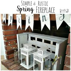 Simple & Rustic Spring Fireplace with DIY banner/kreativk.net