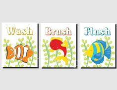 Kids Bathroom Art Nautical Bathroom Art Sea Creatures Bathroom Brother Sister Bath Wash Brush Fish Nemo Set Of 3 Prints Or Canvas