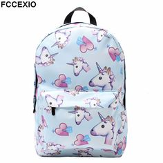 68ef2ce8f0 FCCEXIO Blue Unicorn 3D Printing Backpack Women Bag Top Quality Bookbag School  Bags for Teenage Girls Polyester Backpacks