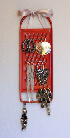 Cheese Grater Earring holder - genius idea. Paint it a colour to match the bedroom.