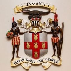 Jamaican crest and motto.  Out of many, one people