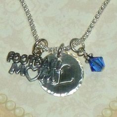 Football Mom Hand Stamped Sterling Silver Initial Charm Necklace by DolphinMoonCreations, $34.00