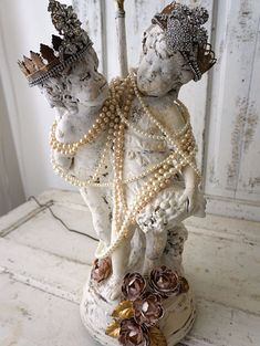 Large table lamp cherub statue shabby cottage by AnitaSperoDesign