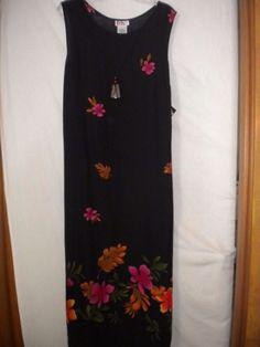 R&K Originals Plus Size 18 Black Floral Mid Calf Necklace Womens Sheath Sundress #RKOriginals #Sundress #Versatile