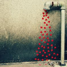 creative photo with water pipe and hearts photoshop