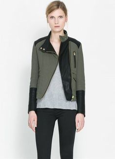 4fb000af Western PU Contrast Stand Collar Short Jackets For Women Army Green