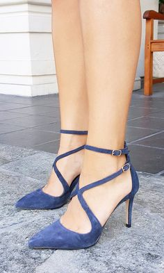 Sexy, strappy navy suede heels by Sole Society