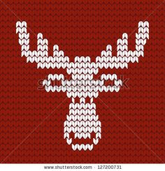Friendly Moose < Enlarge to see knit stitch pattern / ss Knitted Christmas Stocking Patterns, Knitted Christmas Stockings, Xmas Cross Stitch, Simple Cross Stitch, Cross Stitch Designs, Stitch Patterns, Crochet Patterns, Stuffed Animal Patterns, Vintage Knitting