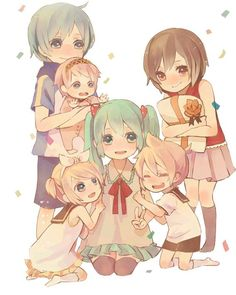 Vocaloid Siblings ~!!! Kaito, Meiko, Luka, Rin, Len, and Miku