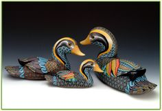 Ducks in polymer clay by Jon Anderson.  http://www.fimocreations.com