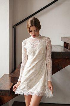 Vintage Inspired Shift Dress Short Wedding