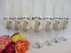 PERSONALIZED to YOUR WEDDING Hand Painted by Bridal Wine Glases by SAM Designs @ www.samdesigns.net, $24.00