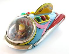 Vintage Old Modern Toys Tin Japan 1960's Moon Rocket Battery Operated See | eBay