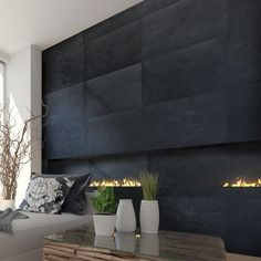 Stone Design Thin Flexible 16 x 24 Natural Stone Field Tile in Black Slate Slate Fireplace, Fireplace Surrounds, Fireplace Design, Linear Fireplace, Modern Fireplace, Exterior Tiles, Interior Exterior, Slate Wall Tiles, Decor Interior Design