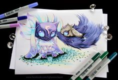 "cuteclaycritters: "" Here comes my version of Kindred! God what a supercute Champion - I just love her!!!!! Can't wait to draw her skin, too! Instabuy!!! """