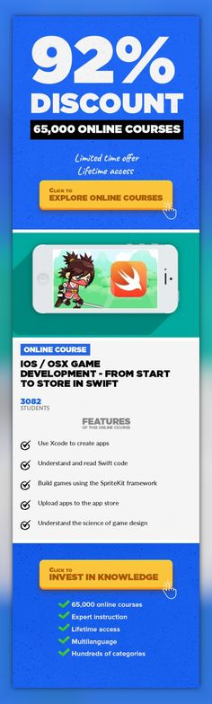iOS / OSX Game Development - From Start to Store in Swift Game Development, Development #onlinecourses #homesteadingskills #onlinedegreeproducts  Learn to create amazing games from scratch in minimal time by properly understanding the SpriteKit framework and Swift. Learn how to make amazing games with SpriteKit and GameplayKit using the modern Swift 2.x language. See the entire process from starti...
