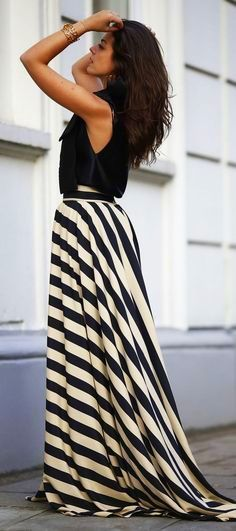 Striped Maxi w/train
