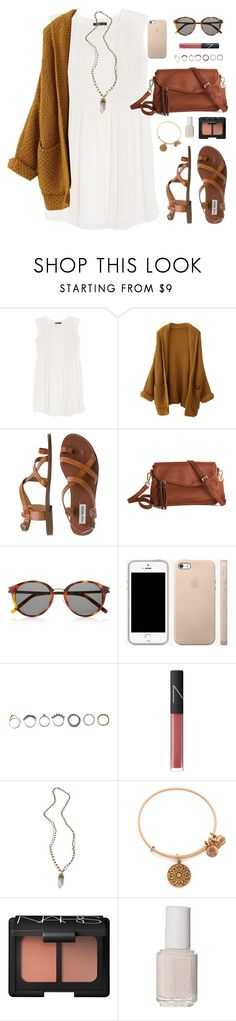 """i like fall more"" by classically-preppy ❤ liked on Polyvore featuring MANGO, Steve Madden, Yves Saint Laurent, Iosselliani, NARS Cosmetics, Alexandra Beth Designs, Alex and Ani and Essie"
