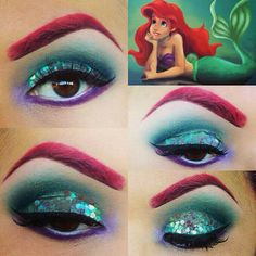 Ariel Make-up - Die kleine Meerjungfrau - . - Make-Up - makeup Ariel Makeup, Disney Makeup, Disney Inspired Makeup, Disney Princess Makeup, Little Mermaid Makeup, Mermaid Halloween Makeup, Mermaid Eye Makeup, Ariel Halloween Costume, Mermaid Costume Makeup