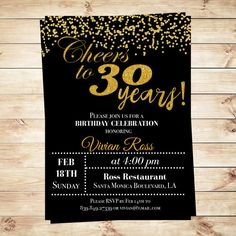 Cheers to thirty years invitations | Cheers to 30 Years Birthday | Cheers to 30 Years Birthday Printable Invitation editable of Adobe