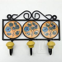 Vešiak keramika a kov trojitý - kruh žltá | BongoShop.sk
