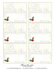Free Printable - Tricia-Rennea, illustrator: Christmas Place-Cards and Ideas Christmas Place Cards, Christmas Names, Gold Christmas Tree, Christmas Colors, Christmas Crafts, Christmas Decorations, Xmas, Christmas Ideas, Holiday Ideas