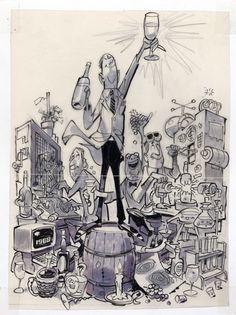 """Wine Buffs"", preliminary sketch by Jack Davis"