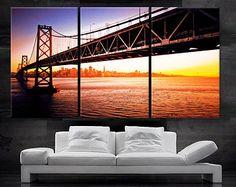 "LARGE 30""x 60"" 3 Panels Art Canvas Print Beautiful bridge San Francisco sunset Wall Home interior decor (Included framed 1.5"" depth)"