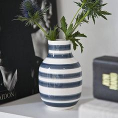 #Vase #Omaggio #Grau #Streifen von #Kähler #Design über www.stilherz.de