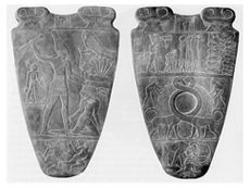 The Narmer Palette, or Great Hierakonpolis Palette, is a significant Egyptian archeological find, dating from about 3200 BC, containing some of the earliest hieroglyphic inscriptions ever found, and depicting the unification of Upper and Lower Egypt under Narmer who is not mentioned by Manetho nor in the Turin King List or the Palermo stone.