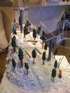 Ski Cake For the ski cake snowdrift affect, I used my small bent spatula. I would put a dollop of frosting down and used my spatula to push...