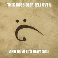 aw sad bass clef is sad haha Funny Band Memes, Music Memes Funny, Marching Band Memes, Music Jokes, Music Humor, Funny Relatable Memes, Orchestra Humor, Band Puns, Band Jokes