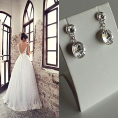 Bridal Earrings made with Silver and Swarovski Elements