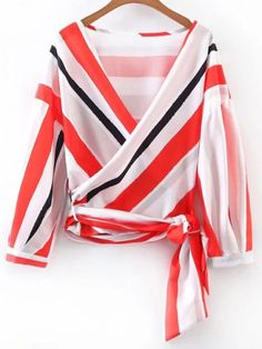 Shop Plunging V-Neckline Tie Waist Warp Top online. SheIn offers Plunging V-Neckline Tie Waist Warp Top & more to fit your fashionable needs. Long Sleeve Wrap Top, Pink Long Sleeve Tops, Bow Tie Blouse, Tie Waist Top, Loose Shirts, Loose Tops, Mode Style, Chiffon Tops, Blouses For Women