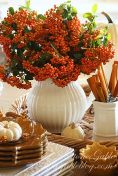 Autumn Tablescape / Thanksgiving Table / Fall Decor / - StoneGable: Harvest Buffet Love the berries in cream vase--Heck I love autumn berries in anything! Table Halloween, Fall Vignettes, Kitchen Vignettes, Kitchen Tables, Autumn Decorating, Fall Table, Decoration Table, Thanksgiving Decorations, Thanksgiving Meal
