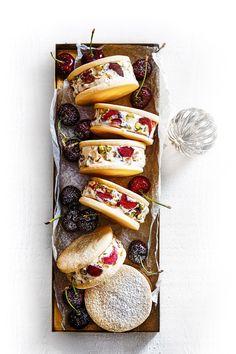 Cherry & Pistachio Cassata Ice-Cream Sandwiches With Lemon Biscuits. The cherry, pistachio, lemon and vanilla in this recipe are the perfect flavour combination. Pistachio Ice Cream, Vanilla Bean Ice Cream, Best Ice Cream, Vegan Ice Cream, Waffle Ice Cream Sandwich, Homemade Ice Cream Sandwiches, Ice Cream Recipes, Icecream Sandwich, Ice Cream Treats