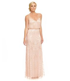 Adrianna Papell Beaded Blouson Gown | Dillards.com