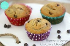 Banana muffins are an absolute classic and when you add in some chocolate, you end up with something even better! Say hello to these delicious Thermomix Banana Chocolate Chip Muffins. My Recipes, Sweet Recipes, Snack Recipes, Snacks, Recipies, Banana Chocolate Chip Muffins, Thermomix Desserts, Yummy Treats, Baking
