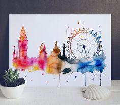 London City Wasserfarbe Drucken - London Aquarell Poster - Aquarell Stadt Illustration - großes Auge London - großes Auge Kunstdruck