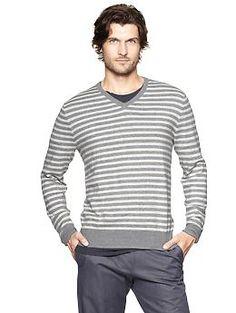 Merino striped sweater | Gap - charcoal heather