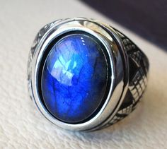 flashy blue labradorite heavy men ring sterling silver 925