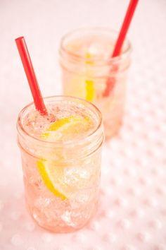Sparkling sweet cherry lemonade good for the summer.