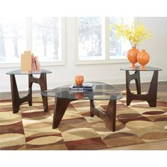 Nebraska Furniture Mart – Ashley Blanca Tables in Dark Brown - Set of 3