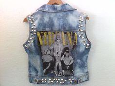 Nirvana / Punk Jacket Vest / Juniors Medium / Denim Jean Jacket Vest / Boho / 90s / Grunge / Kurt Cobain / Street Style / Summer Festival on Etsy, £56.04