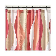 Italian Seersucker Coral Shower Curtain