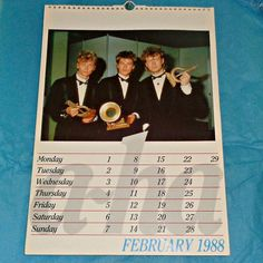 A-ha 1988 Calendar Music Memorabilia Collectable Vintage Pop